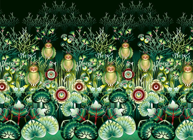 mural Catalina Estrada owls