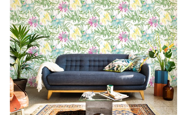 wallpaper flower green yellow lilac
