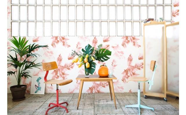 wallpaper palm leave rose