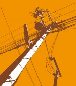 Orange Telegraph Pole Mural