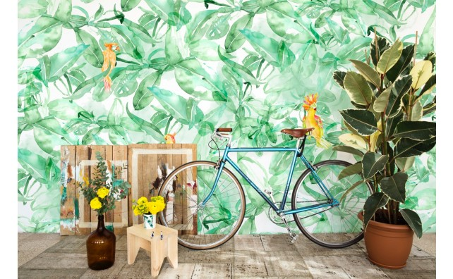 muurschilderingpalm,oerwoud,papegaai,kleur