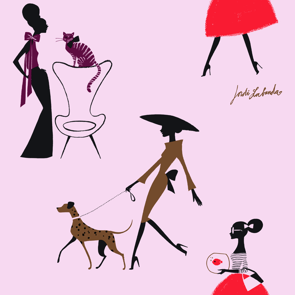 Papel pintado Jordi Labanda Pets color rosa