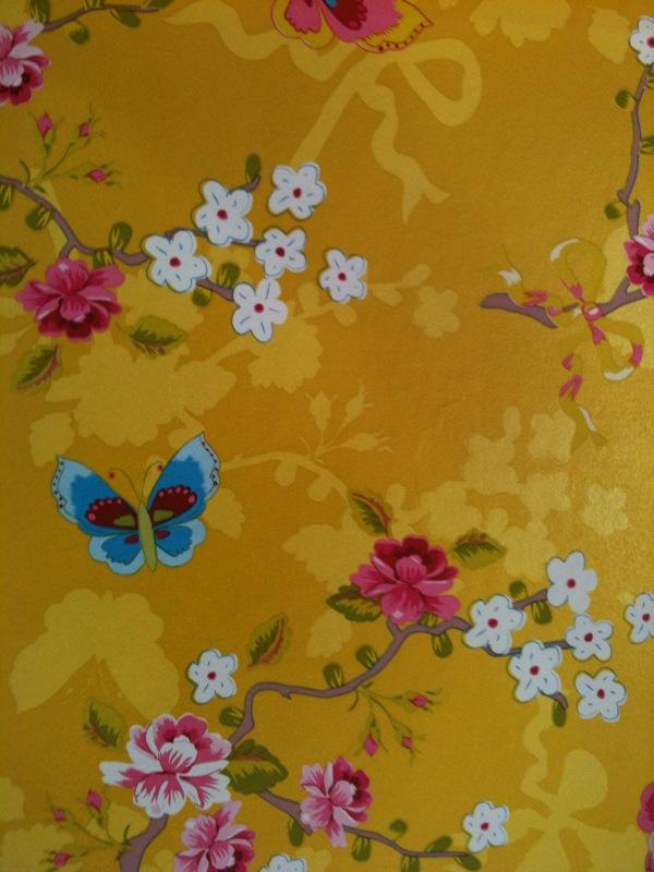 Papel Pintado Mariposas Amarillo