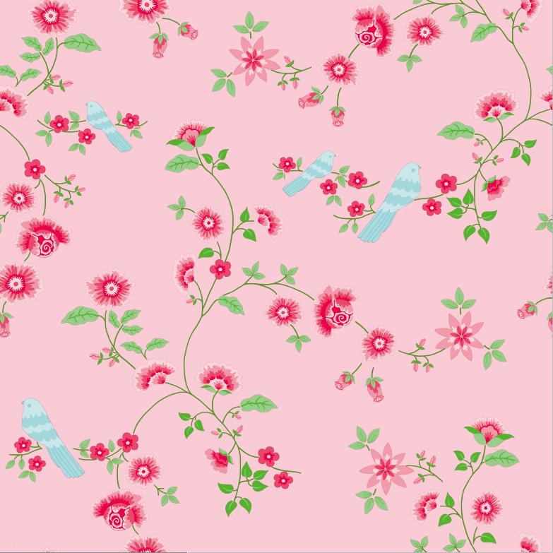Papel Pintado Bird Branches Pink