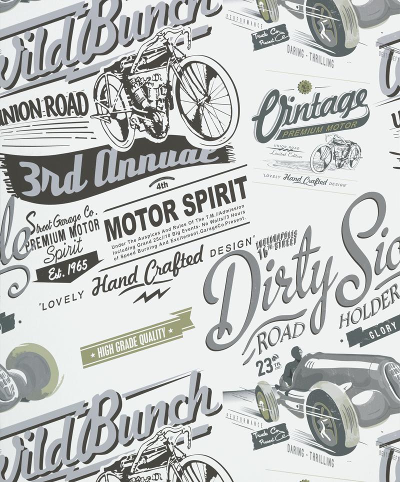Papel Pintado Vintage Rally Gris