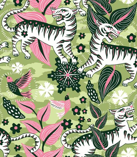 Papel pintado Selva de Tigres Green by Catalina Estrada