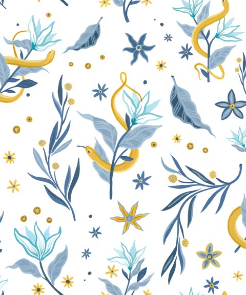 Papel Pintado Serpientes y Flores White by Mercedes Bellido