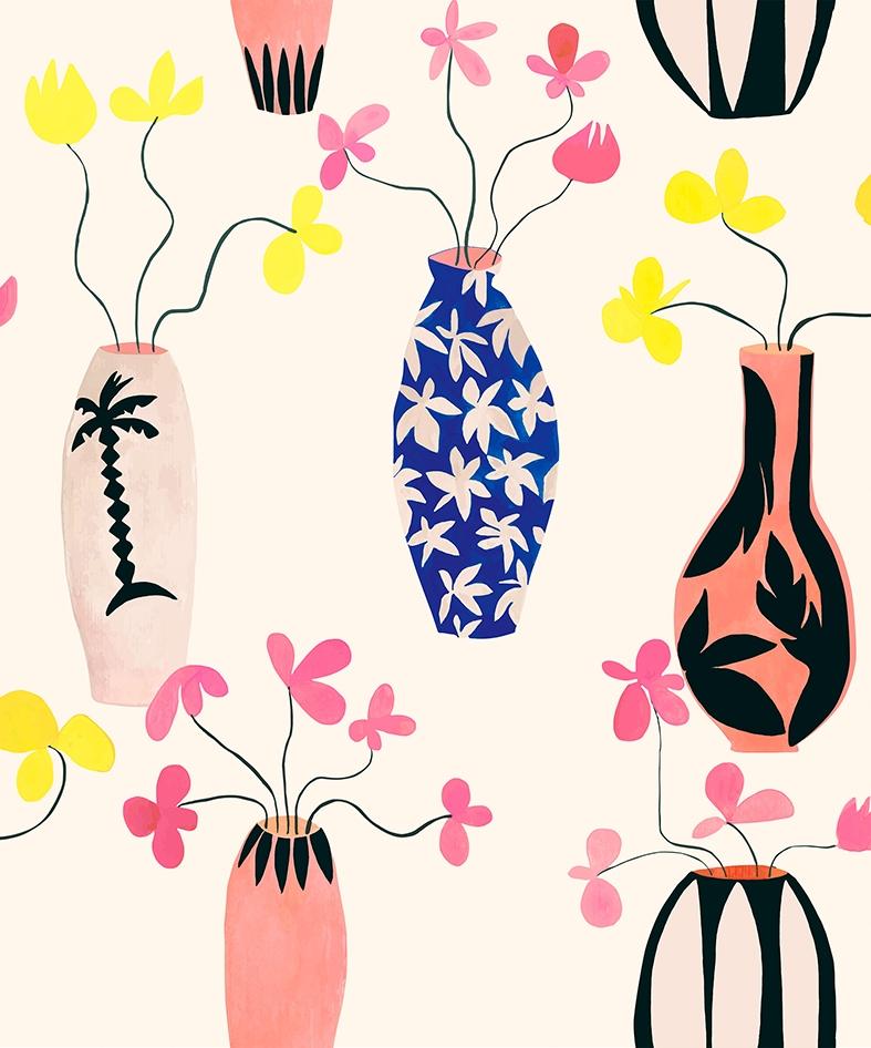 Papel pintado Vase Paradise Beige by Lydia Delgado