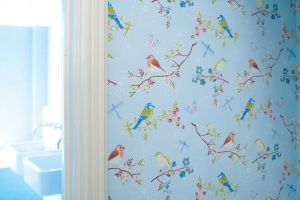 Papel Pintado Pájaros Azul