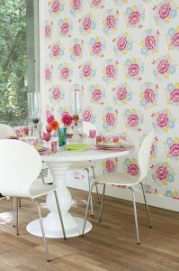 papel pintado big rose white