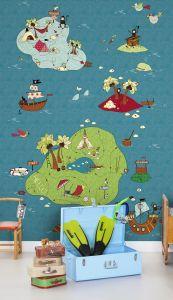 mural infantil mapa del tesoro color