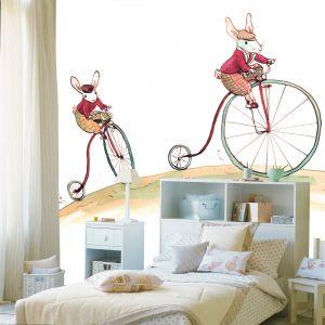 mural infantil conejitos bicicleta