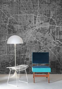 Mural Urban Map Black