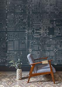 Mural Old Beiging Dark Blue