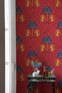 Papel Pintado Medieval Tapestry Red by Brianda FJ Stuart