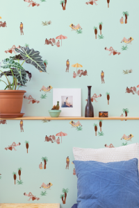 Papel pintado One day at the beach Mint by Isabelle Feliu