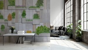 Mural Vertical Forest Blue