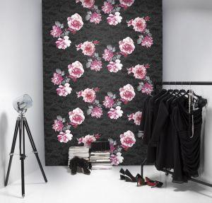 Mural Flores Orientales Negro