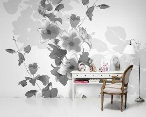 Mural Grandes Flores Blanco y Negro