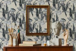 Papel pintado Bank of Fish Grey