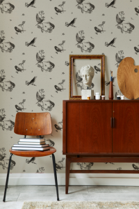 Papel pintado Sweet Birds Black