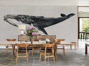 Mural Humpback Whale Grey