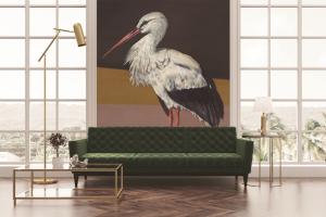 Mural Stork Mother Black