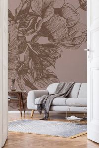 Mural Giant Peonies Cacao
