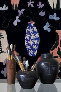 Papel pintado Vase Paradise Black by Lydia Delgado