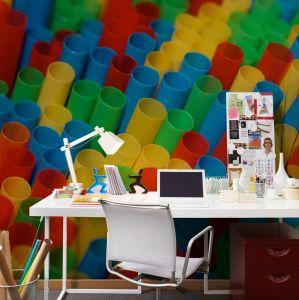 mural cañas de colores