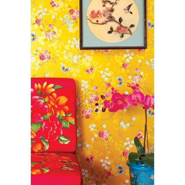 papel pintadoo mariposas amarillo