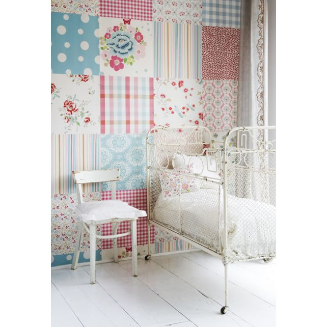 mural,patchwork,niña,rosa,turquesa