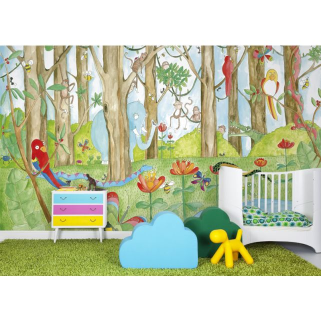 mural infantil jungla multicolor