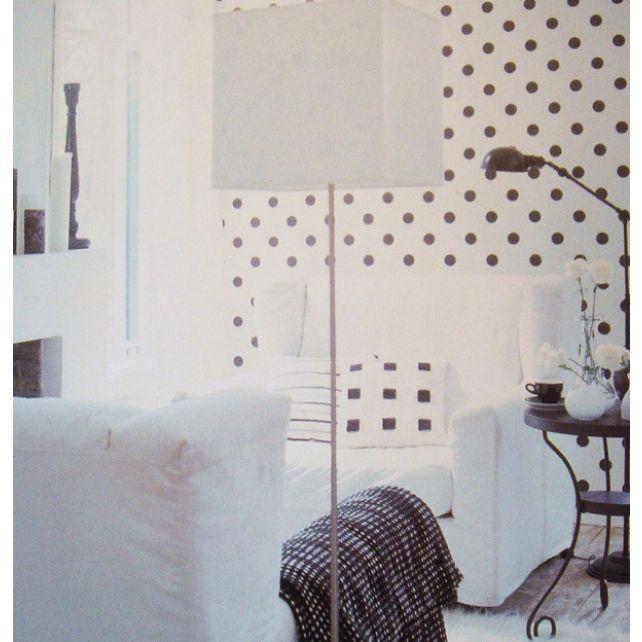 Papel Pintado Topos Blanco y Negro