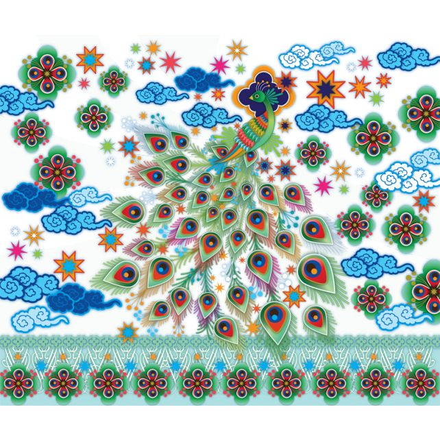 mural,Catalina,Estrada,pavo,real,flores,nubes