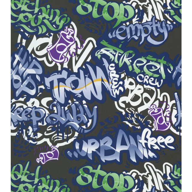 Papel Pintado Graffiti Negro