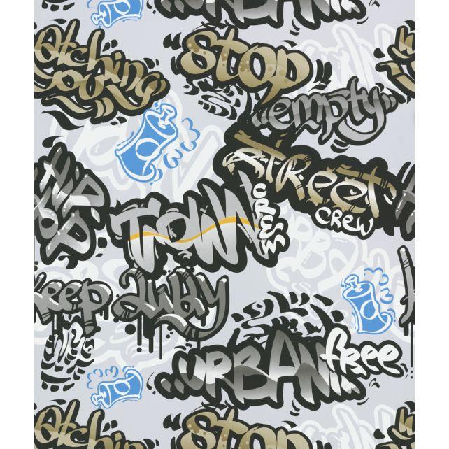 Papel Pintado Graffiti Gris