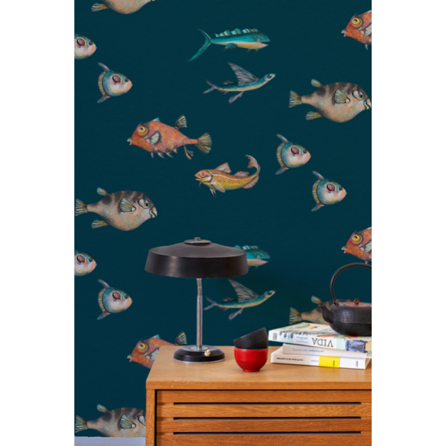 Papel pintado Peces Santamans Navy by Joana Santamans