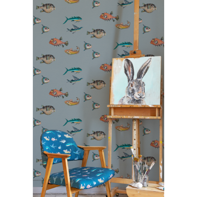 Papel pintado Peces Santamans Grey by Joana Santamans