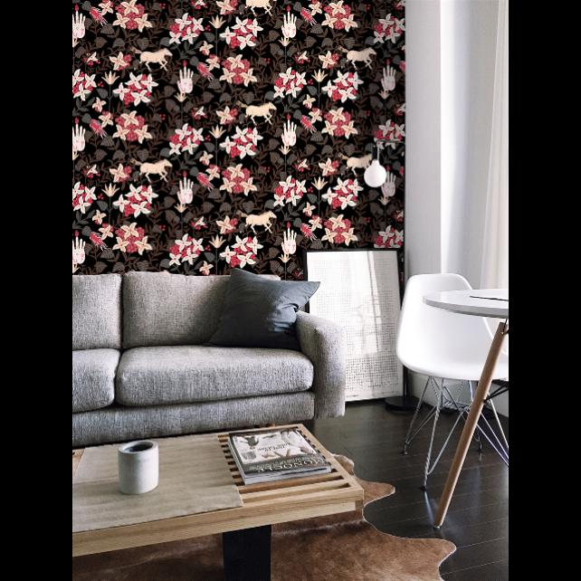 Papel pintado Neo-Flowery Black