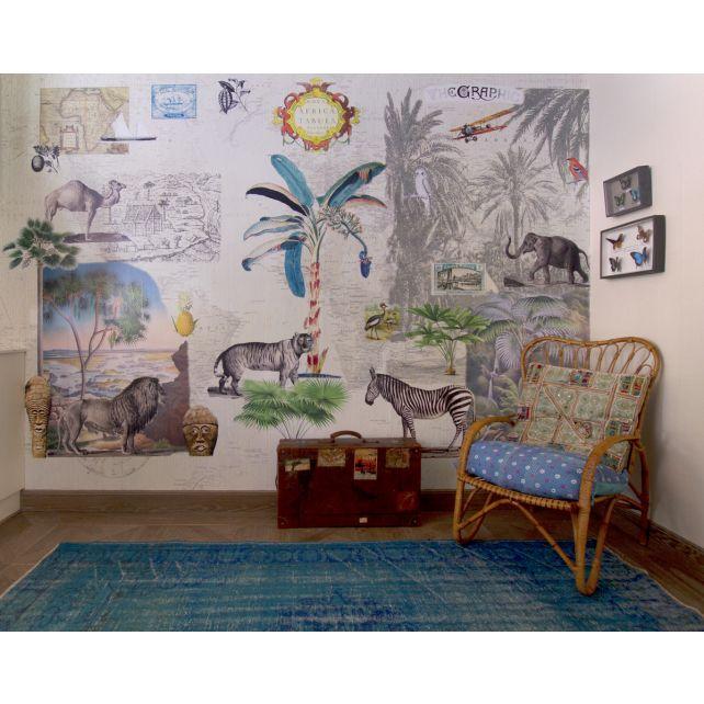 mural,África,salvaje,animales