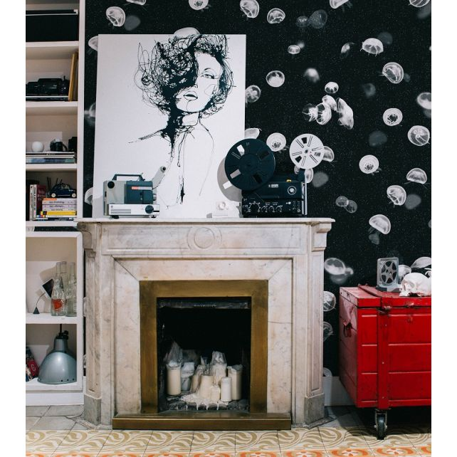 papel,pintado,medusas,negro