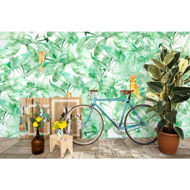 mural loro selva verde naranja