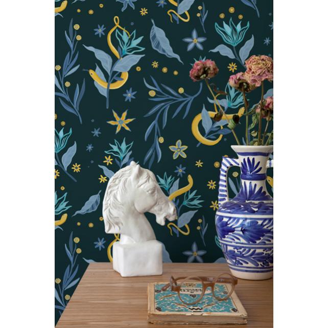 Papel Pintado Serpientes y Flores Green by Mercedes Bellido