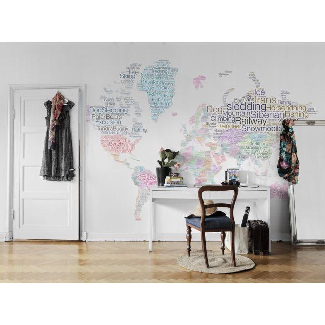 Mural Mapamundi Letras