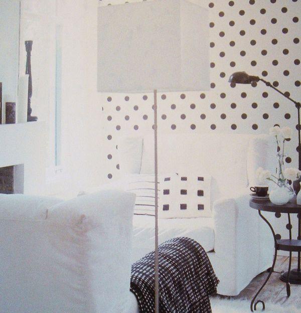 Bloompapers papel pintado topos blanco y negro blanco - Papel pintado negro ...