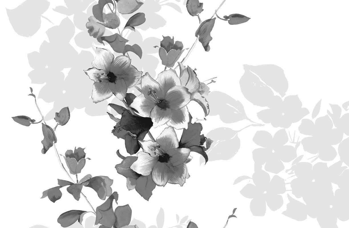 Mural Flores Blanco Y Negro