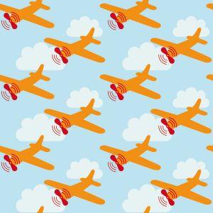 Papel Pintado Avionetas Azul