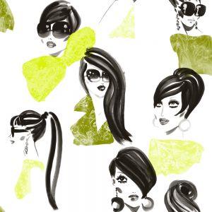 Papel pintado Jordi Labanda Makeup color verde amarillento chartreuse