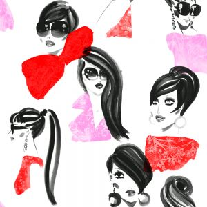 Papel pintado Jordi Labanda Makeup color rojo